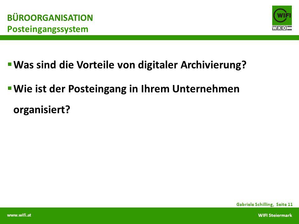 www.wifi.at WIFI Steiermark Posteingangssystem Gabriele Schilling, Seite 11
