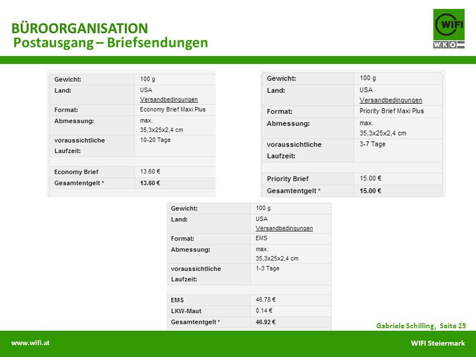 www.wifi.at WIFI Steiermark Postausgang – Briefsendungen Gabriele Schilling, Seite 25
