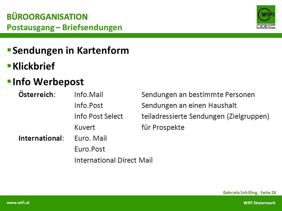 www.wifi.at WIFI Steiermark Sendungen in Kartenform Klickbrief Info Werbepost Österreich:Info.MailSendungen an bestimmte Personen Info.PostSendungen a