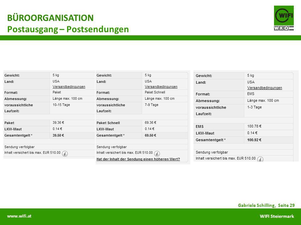 www.wifi.at WIFI Steiermark Postausgang – Postsendungen Gabriele Schilling, Seite 29