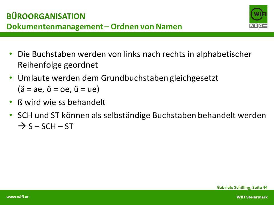 www.wifi.at WIFI Steiermark Die Buchstaben werden von links nach rechts in alphabetischer Reihenfolge geordnet Umlaute werden dem Grundbuchstaben glei