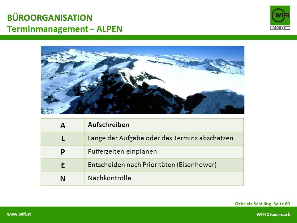 www.wifi.at WIFI Steiermark Gabriele Schilling, Seite 60 Terminmanagement – ALPEN A Aufschreiben L Länge der Aufgabe oder des Termins abschätzen P Puf