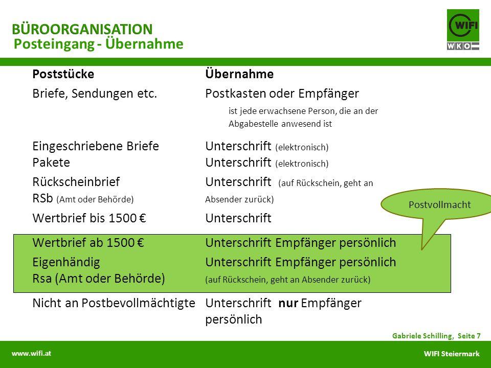 www.wifi.at WIFI Steiermark PoststückeÜbernahme Briefe, Sendungen etc.Postkasten oder Empfänger ist jede erwachsene Person, die an der Abgabestelle an