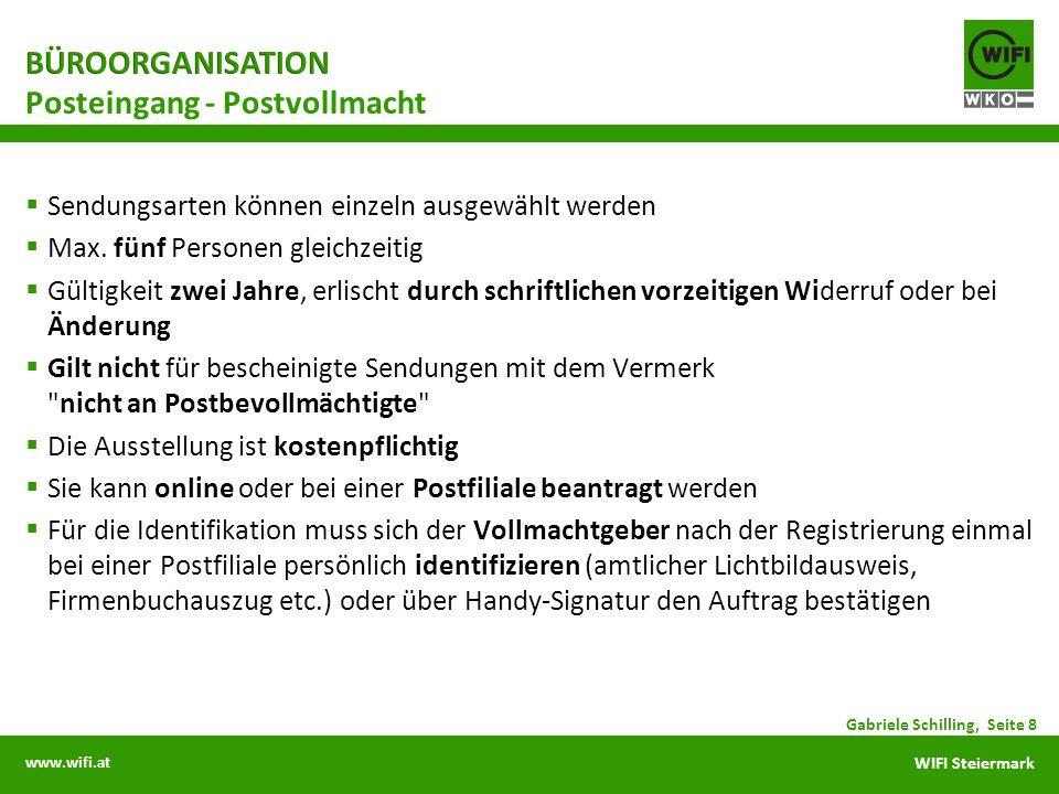 www.wifi.at WIFI Steiermark Sendungsarten können einzeln ausgewählt werden Max. fünf Personen gleichzeitig Gültigkeit zwei Jahre, erlischt durch schri