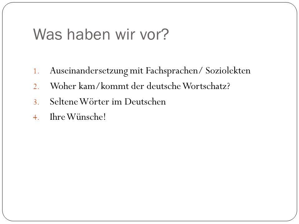 Was haben wir vor? 1. Auseinandersetzung mit Fachsprachen/ Soziolekten 2. Woher kam/kommt der deutsche Wortschatz? 3. Seltene Wörter im Deutschen 4. I