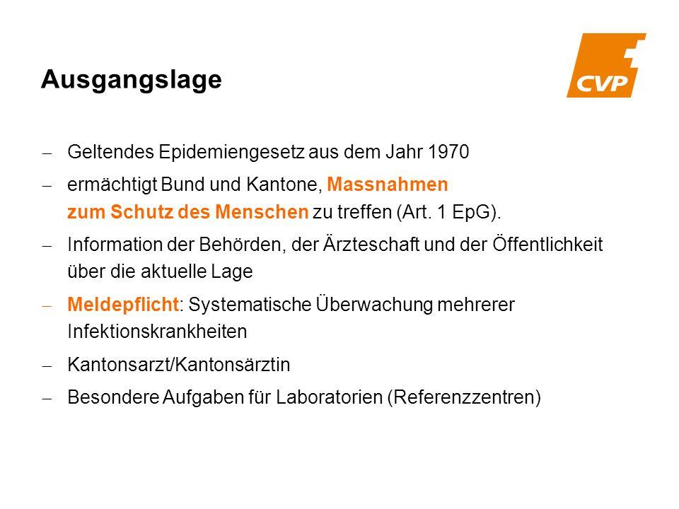 Geltendes Epidemiengesetz aus dem Jahr 1970 ermächtigt Bund und Kantone, Massnahmen zum Schutz des Menschen zu treffen (Art. 1 EpG). Information der B