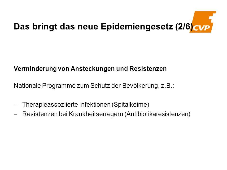 Verminderung von Ansteckungen und Resistenzen Nationale Programme zum Schutz der Bevölkerung, z.B.: Therapieassoziierte Infektionen (Spitalkeime) Resi