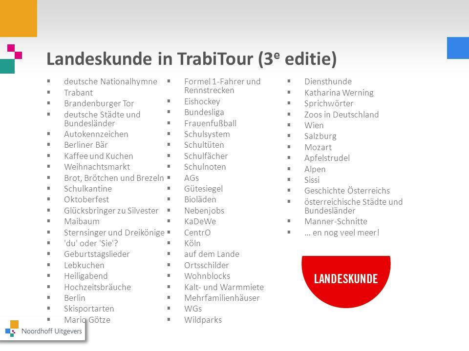 Landeskunde in TrabiTour (3 e editie) deutsche Nationalhymne Trabant Brandenburger Tor deutsche Städte und Bundesländer Autokennzeichen Berliner Bär K