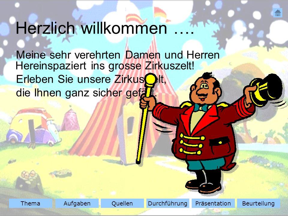 ThemaAufgabenQuellenDurchführungBeurteilungPräsentation Meine sehr verehrten Damen und Herren Hereinspaziert ins grosse Zirkuszelt.