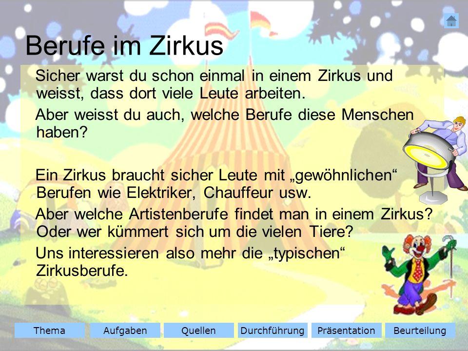 ThemaAufgabenQuellenDurchführungBeurteilungPräsentation Quellen Klicke auf die Zirkusnamen, dann bist du im Internet beim gewünschten Zirkus.