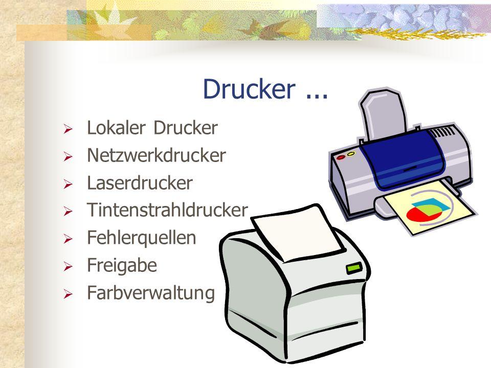 Drucker... Lokaler Drucker Netzwerkdrucker Laserdrucker Tintenstrahldrucker Fehlerquellen Freigabe Farbverwaltung