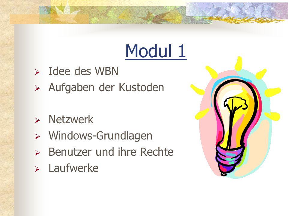 Modul 1 Idee des WBN Aufgaben der Kustoden Netzwerk Windows-Grundlagen Benutzer und ihre Rechte Laufwerke