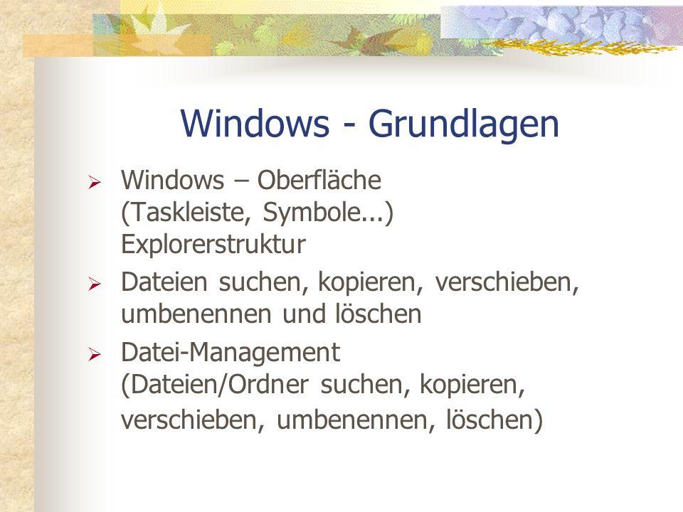 Windows – Oberfläche (Taskleiste, Symbole...) Explorerstruktur Dateien suchen, kopieren, verschieben, umbenennen und löschen Datei-Management (Dateien/Ordner suchen, kopieren, verschieben, umbenennen, löschen) Windows - Grundlagen