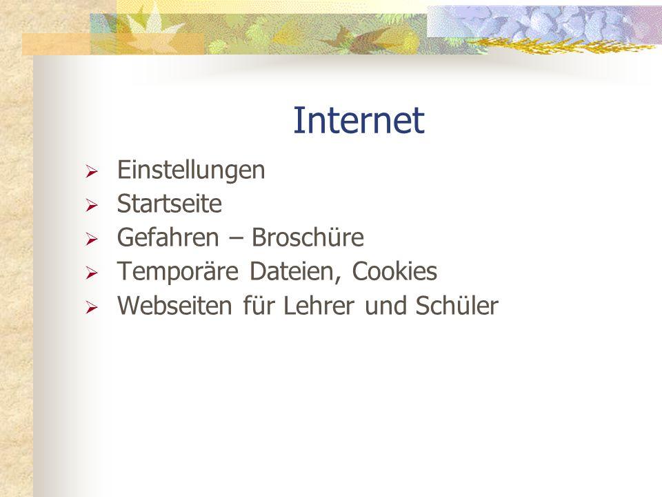 Internet Einstellungen Startseite Gefahren – Broschüre Temporäre Dateien, Cookies Webseiten für Lehrer und Schüler