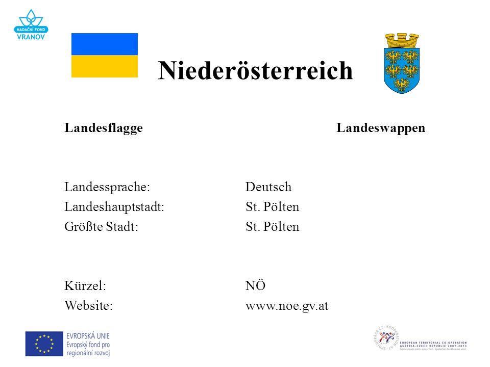 LandesflaggeLandeswappen Landessprache:Deutsch Landeshauptstadt:St. Pölten Größte Stadt:St. Pölten Kürzel:NÖ Website:www.noe.gv.at Niederösterreich