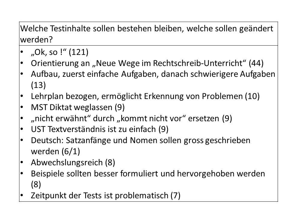 Welche Testinhalte sollen bestehen bleiben, welche sollen geändert werden? Ok, so ! (121) Orientierung an Neue Wege im Rechtschreib-Unterricht (44) Au