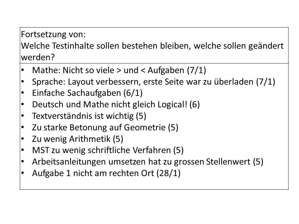 Fortsetzung von: Welche Testinhalte sollen bestehen bleiben, welche sollen geändert werden? Mathe: Nicht so viele > und < Aufgaben (7/1) Sprache: Layo