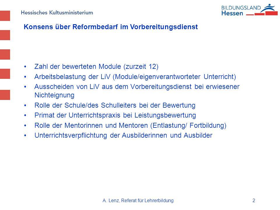 A. Lenz, Referat für Lehrerbildung2 Zahl der bewerteten Module (zurzeit 12) Arbeitsbelastung der LiV (Module/eigenverantworteter Unterricht) Ausscheid