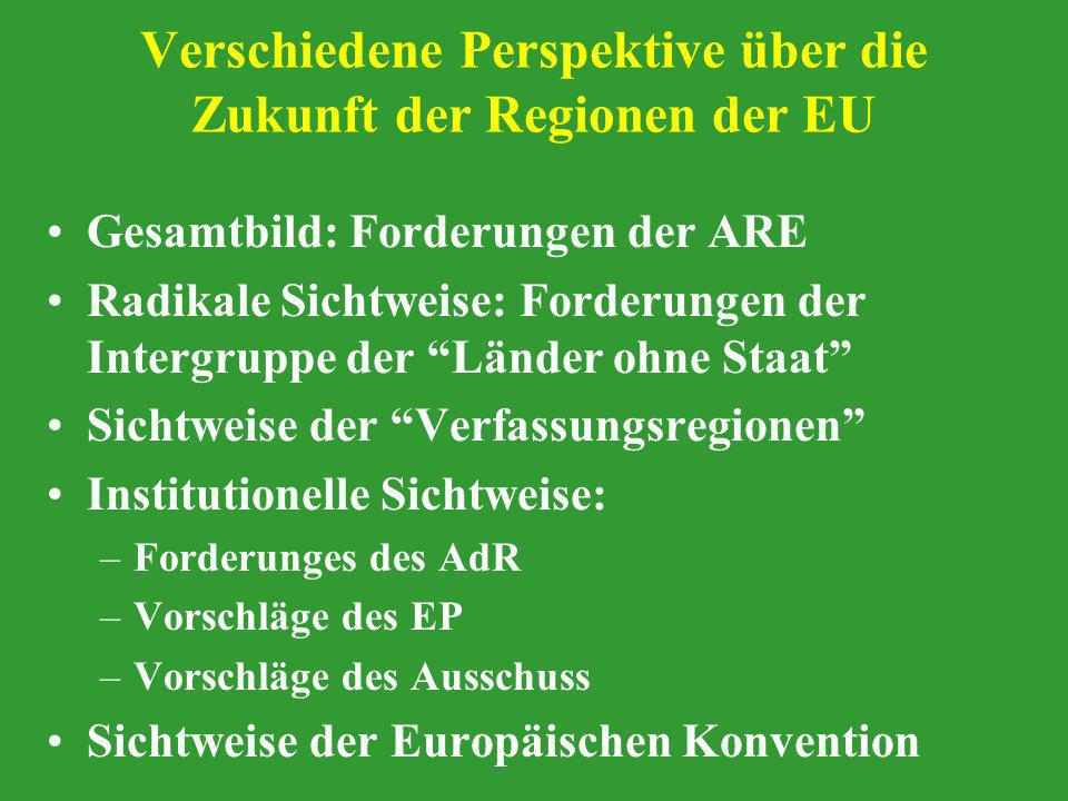 Verschiedene Perspektive über die Zukunft der Regionen der EU Gesamtbild: Forderungen der ARE Radikale Sichtweise: Forderungen der Intergruppe der Län