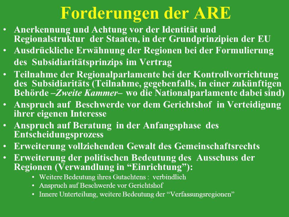 Forderungen der ARE Anerkennung und Achtung vor der Identität und Regionalstruktur der Staaten, in der Grundprinzipien der EU Ausdrückliche Erwähnung