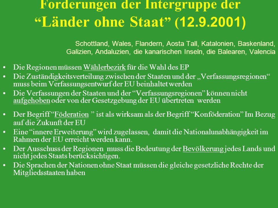 Forderungen der Intergruppe der Länder ohne Staat ( 12.9.2001) Schottland, Wales, Flandern, Aosta Tall, Katalonien, Baskenland, Galizien, Andaluzien,
