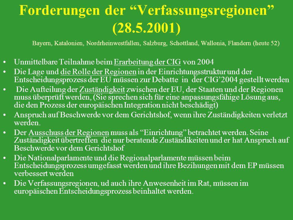 Forderungen der Verfassungsregionen (28.5.2001) Bayern, Katalonien, Nordrheinwestfallen, Salzburg, Schottland, Wallonia, Flandern (heute 52) Unmittelb
