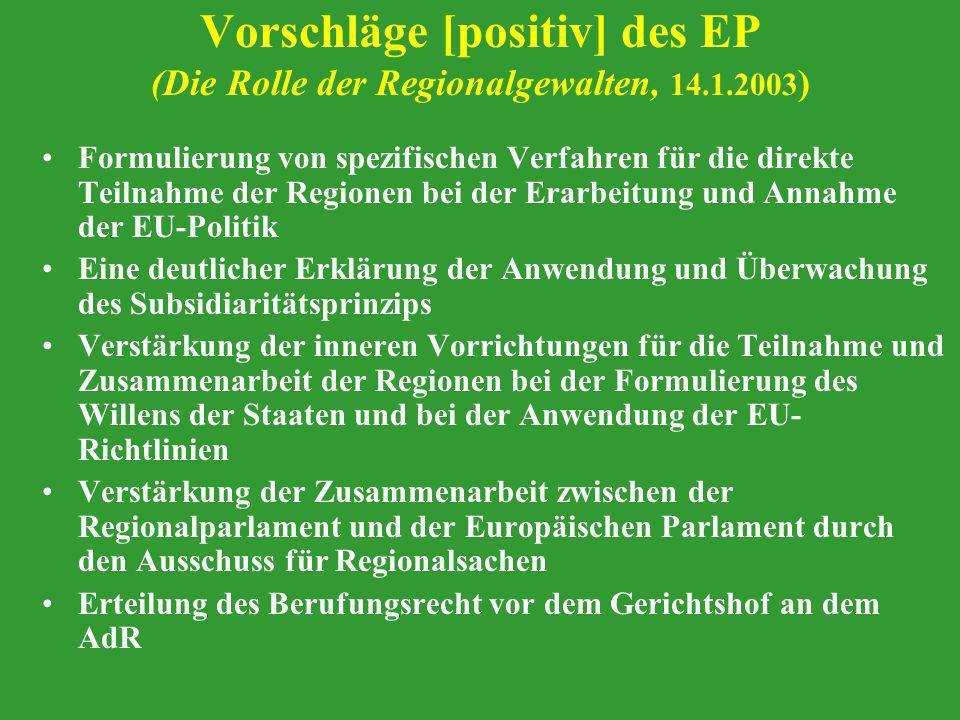 Vorschläge [positiv] des EP (Die Rolle der Regionalgewalten, 14.1.2003 ) Formulierung von spezifischen Verfahren für die direkte Teilnahme der Regione