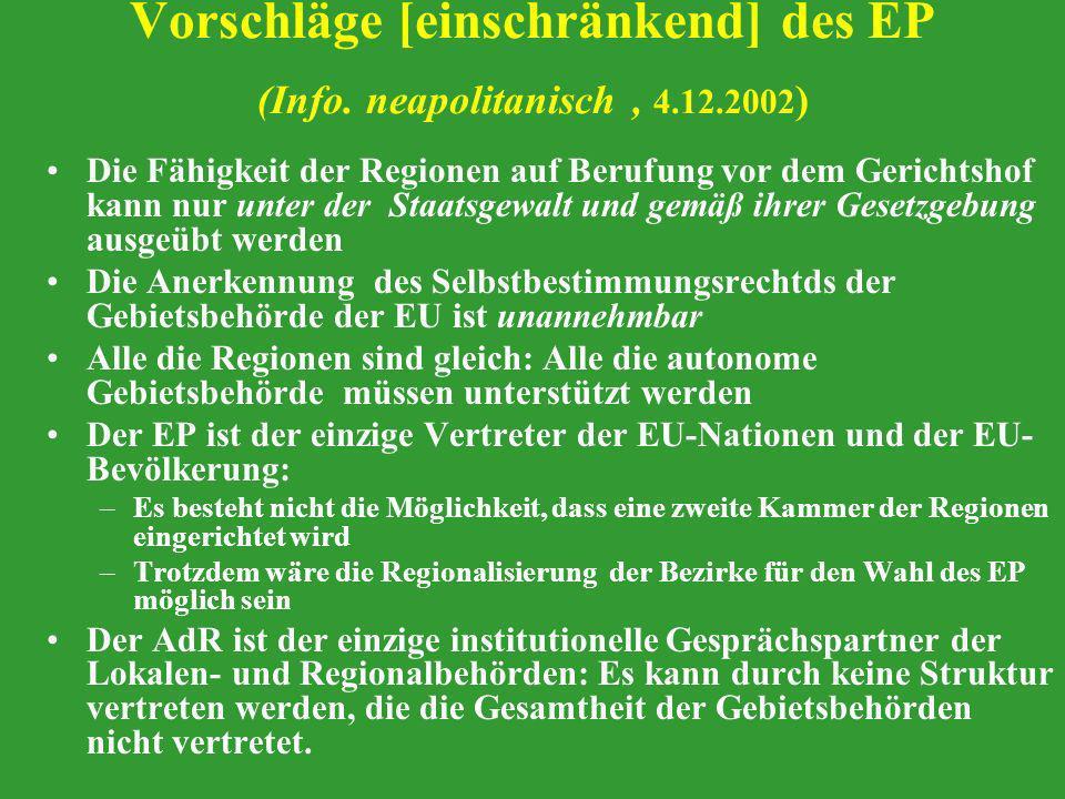 Vorschläge [einschränkend] des EP (Info. neapolitanisch, 4.12.2002 ) Die Fähigkeit der Regionen auf Berufung vor dem Gerichtshof kann nur unter der St