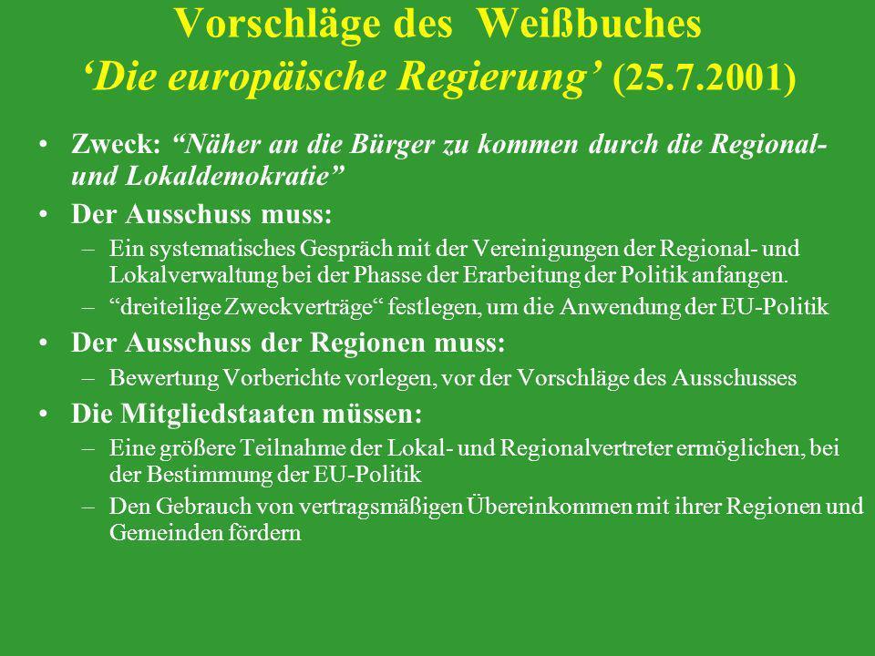 Vorschläge des Weißbuches Die europäische Regierung (25.7.2001) Zweck: Näher an die Bürger zu kommen durch die Regional- und Lokaldemokratie Der Aussc