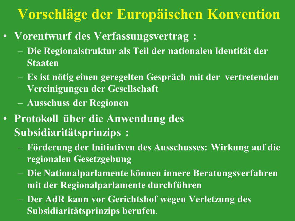 Vorschläge der Europäischen Konvention Vorentwurf des Verfassungsvertrag : –Die Regionalstruktur als Teil der nationalen Identität der Staaten –Es ist