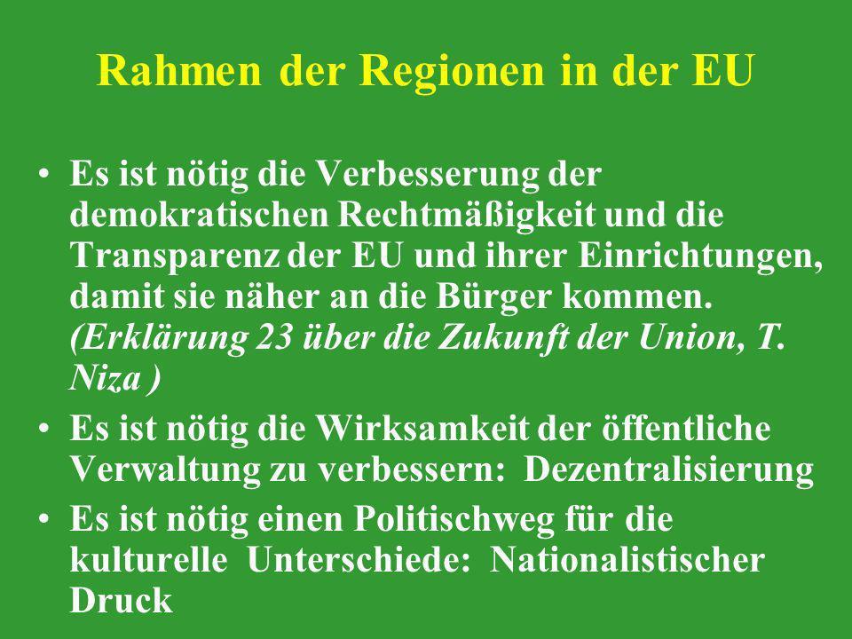 Rahmen der Regionen in der EU Es ist nötig die Verbesserung der demokratischen Rechtmäßigkeit und die Transparenz der EU und ihrer Einrichtungen, dami
