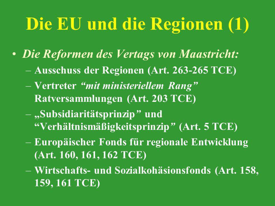 Die EU und die Regionen (1) Die Reformen des Vertags von Maastricht: –Ausschuss der Regionen (Art. 263-265 TCE) –Vertreter mit ministeriellem Rang Rat