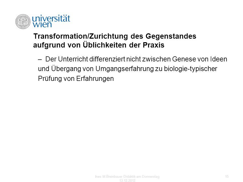 Transformation/Zurichtung des Gegenstandes aufgrund von Üblichkeiten der Praxis –Der Unterricht differenziert nicht zwischen Genese von Ideen und Über