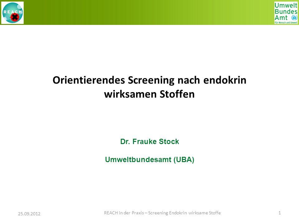 Orientierendes Screening nach endokrin wirksamen Stoffen Dr. Frauke Stock Umweltbundesamt (UBA) 25.09.2012 1 REACH in der Praxis – Screening Endokrin