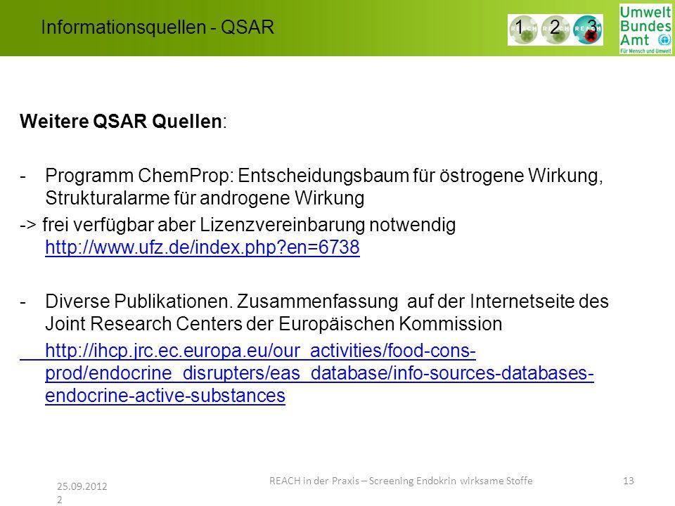 Informationsquellen - QSAR REACH in der Praxis – Screening Endokrin wirksame Stoffe 13 25.09.2012 2 1 2 3 Weitere QSAR Quellen: -Programm ChemProp: En