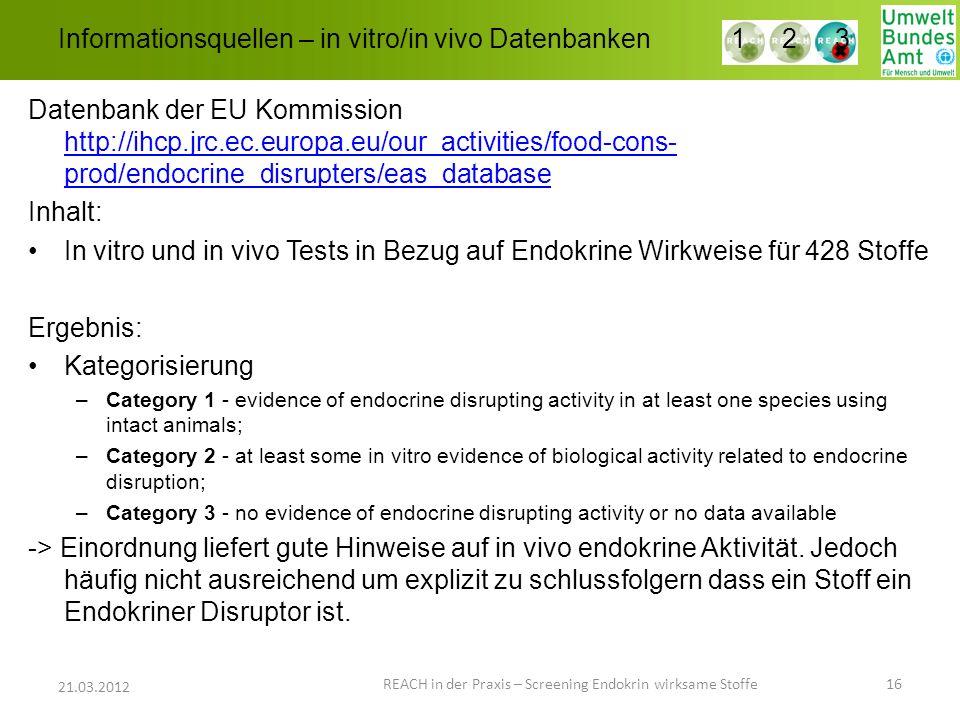 Informationsquellen – in vitro/in vivo Datenbanken REACH in der Praxis – Screening Endokrin wirksame Stoffe 16 21.03.2012 1 2 3 Datenbank der EU Kommi