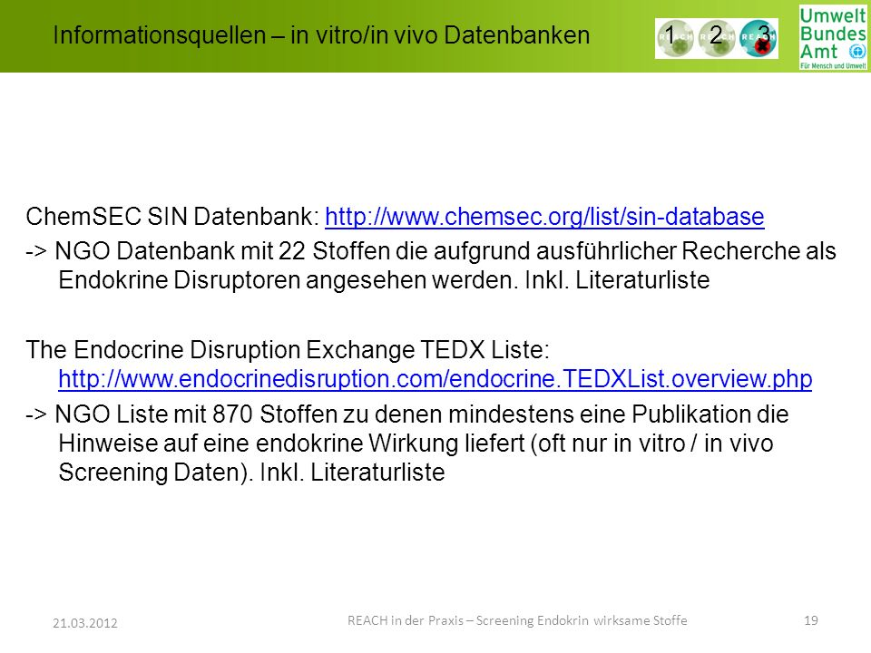 Informationsquellen – in vitro/in vivo Datenbanken REACH in der Praxis – Screening Endokrin wirksame Stoffe 19 21.03.2012 1 2 3 ChemSEC SIN Datenbank: http://www.chemsec.org/list/sin-databasehttp://www.chemsec.org/list/sin-database -> NGO Datenbank mit 22 Stoffen die aufgrund ausführlicher Recherche als Endokrine Disruptoren angesehen werden.