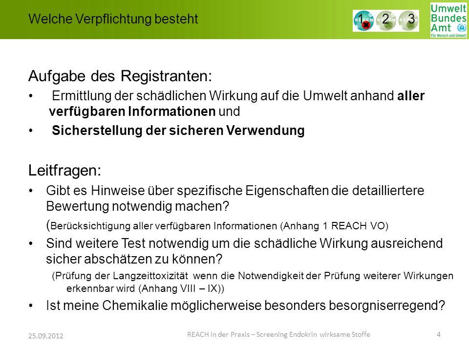 Welche Verpflichtung besteht Aufgabe des Registranten: Ermittlung der schädlichen Wirkung auf die Umwelt anhand aller verfügbaren Informationen und Si