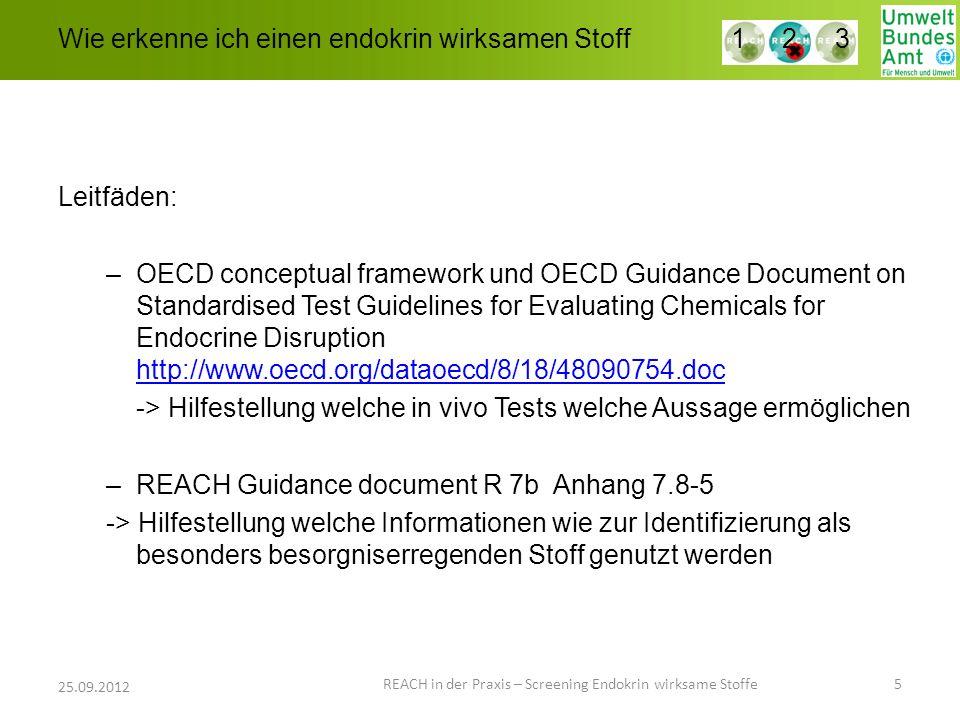 Wie erkenne ich einen endokrin wirksamen Stoff Leitfäden: –OECD conceptual framework und OECD Guidance Document on Standardised Test Guidelines for Ev