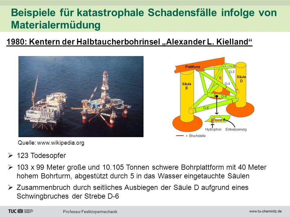 Professur Festkörpermechanik Beispiele für katastrophale Schadensfälle infolge von Materialermüdung 1980: Kentern der Halbtaucherbohrinsel Alexander L