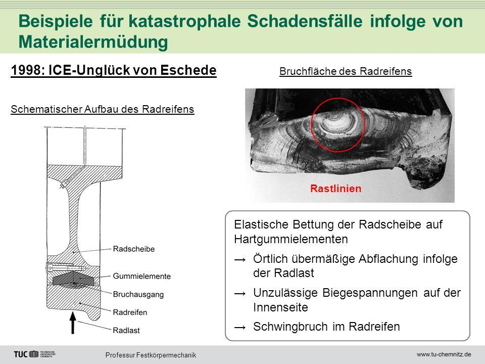 Professur Festkörpermechanik Beispiele für katastrophale Schadensfälle infolge von Materialermüdung 1998: ICE-Unglück von Eschede Schematischer Aufbau