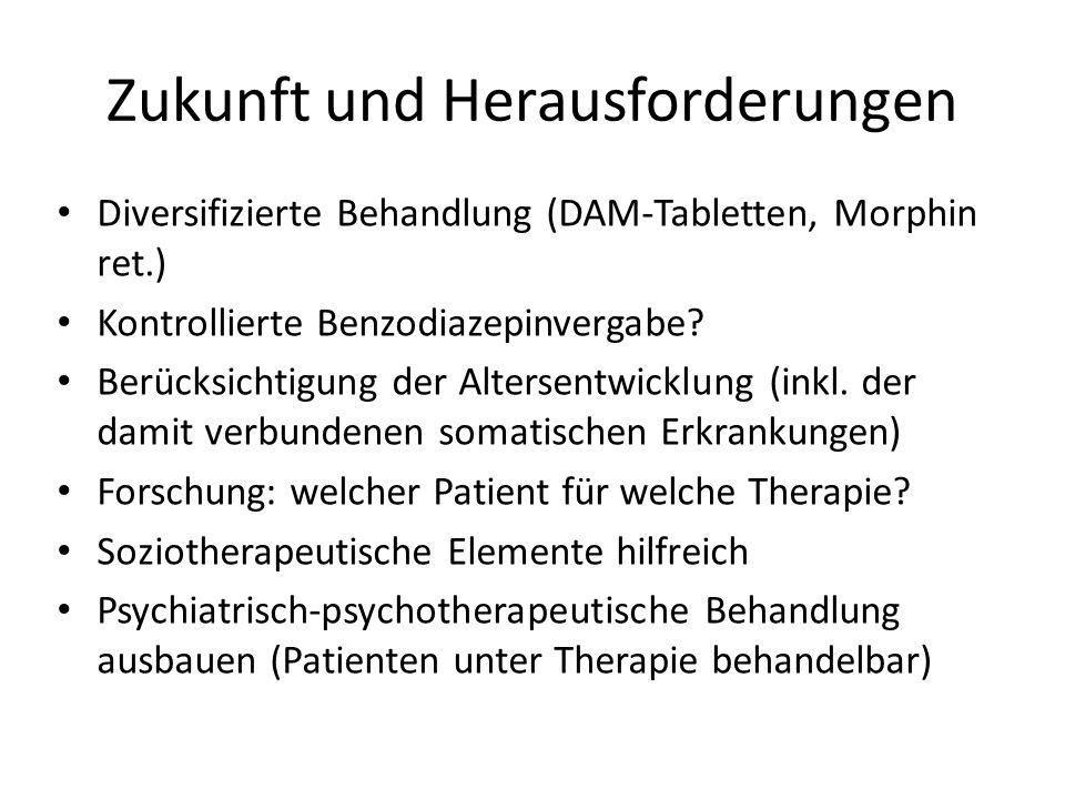 Zukunft und Herausforderungen Diversifizierte Behandlung (DAM-Tabletten, Morphin ret.) Kontrollierte Benzodiazepinvergabe.