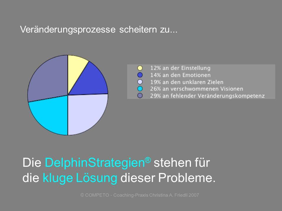 © COMPETO - Coaching-Praxis Christina A. Friedli 2007 Veränderungsprozesse scheitern zu... Die DelphinStrategien ® stehen für die kluge Lösung dieser