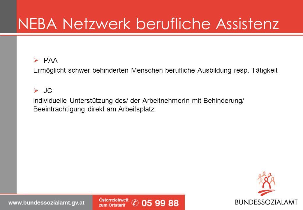 NEBA Netzwerk berufliche Assistenz PAA Ermöglicht schwer behinderten Menschen berufliche Ausbildung resp.