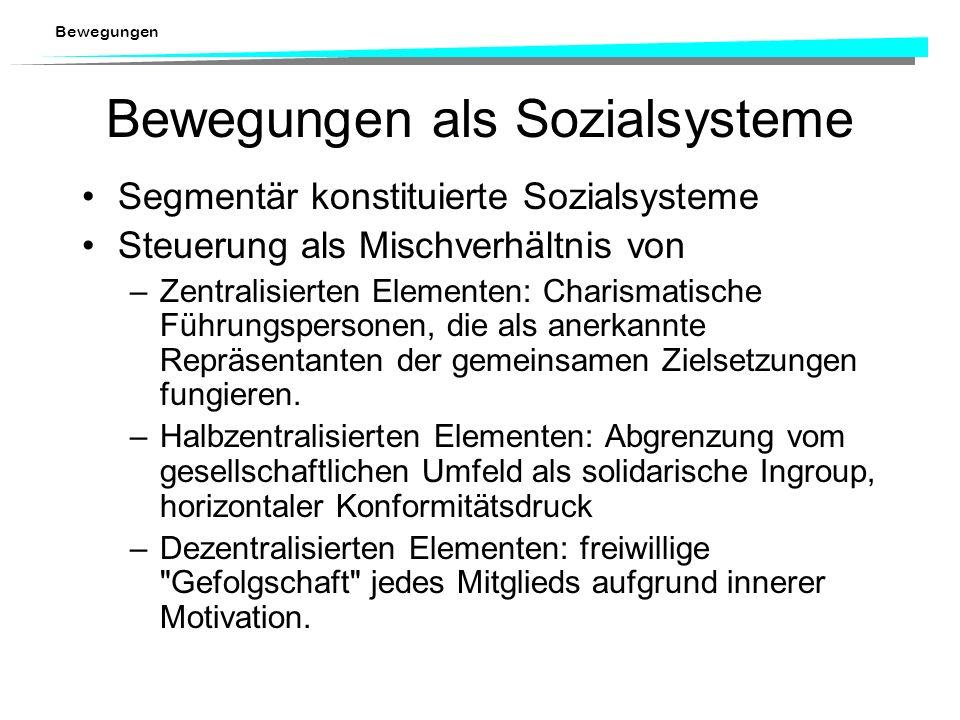 Bewegungen Organisationssoziologische Unterschiede zu Parteien niedriger Grad an funktionaler Differenzierung hoher interner Konformitätsdruck, der z.
