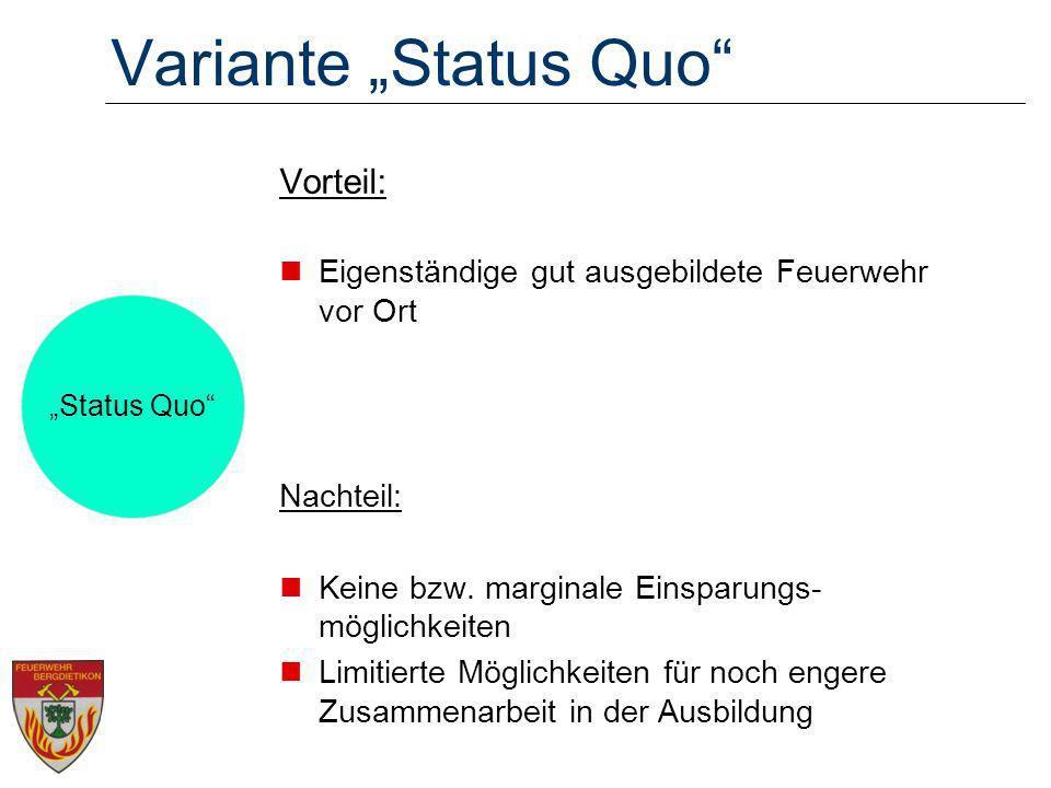 Variante Status Quo Vorteil: Eigenständige gut ausgebildete Feuerwehr vor Ort Nachteil: Keine bzw.