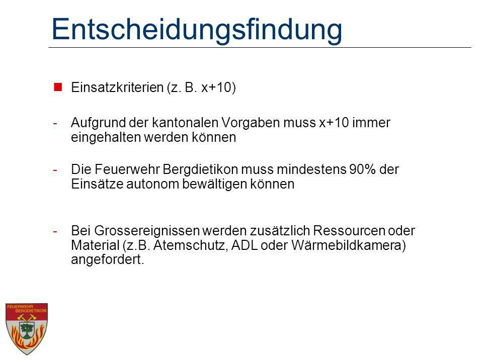 Entscheidungsfindung Einsatzkriterien (z. B. x+10) -Aufgrund der kantonalen Vorgaben muss x+10 immer eingehalten werden können -Die Feuerwehr Bergdiet