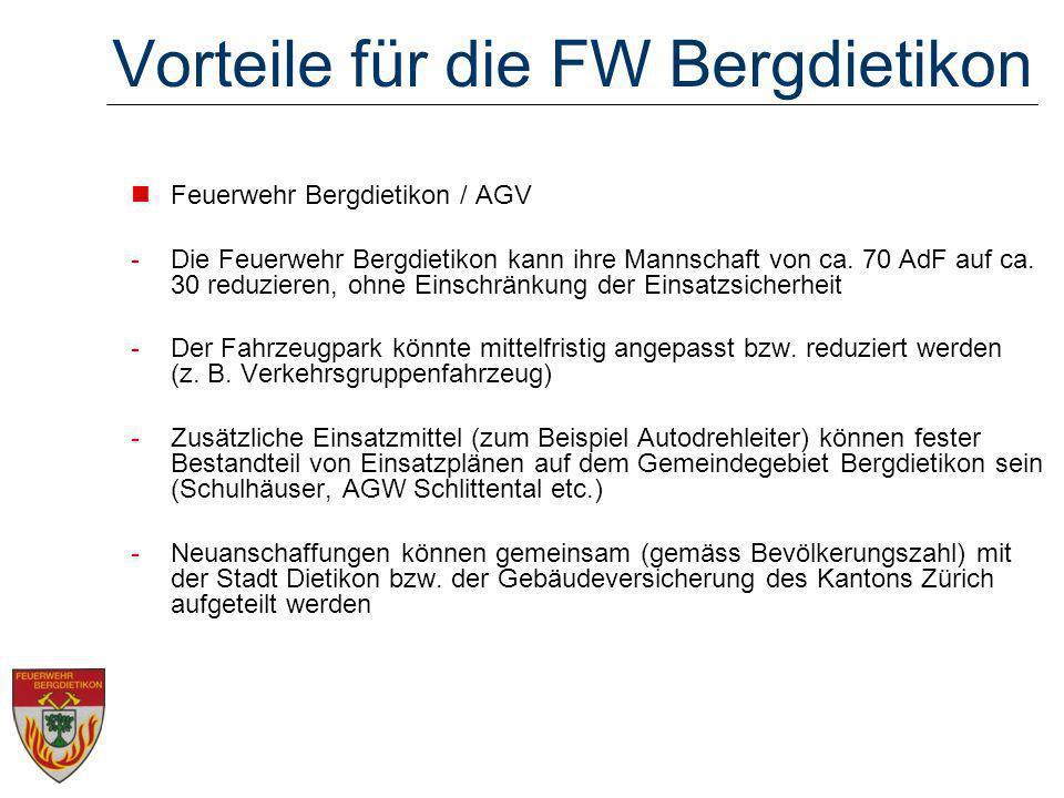 Vorteile für die FW Bergdietikon Feuerwehr Bergdietikon / AGV -Die Feuerwehr Bergdietikon kann ihre Mannschaft von ca.