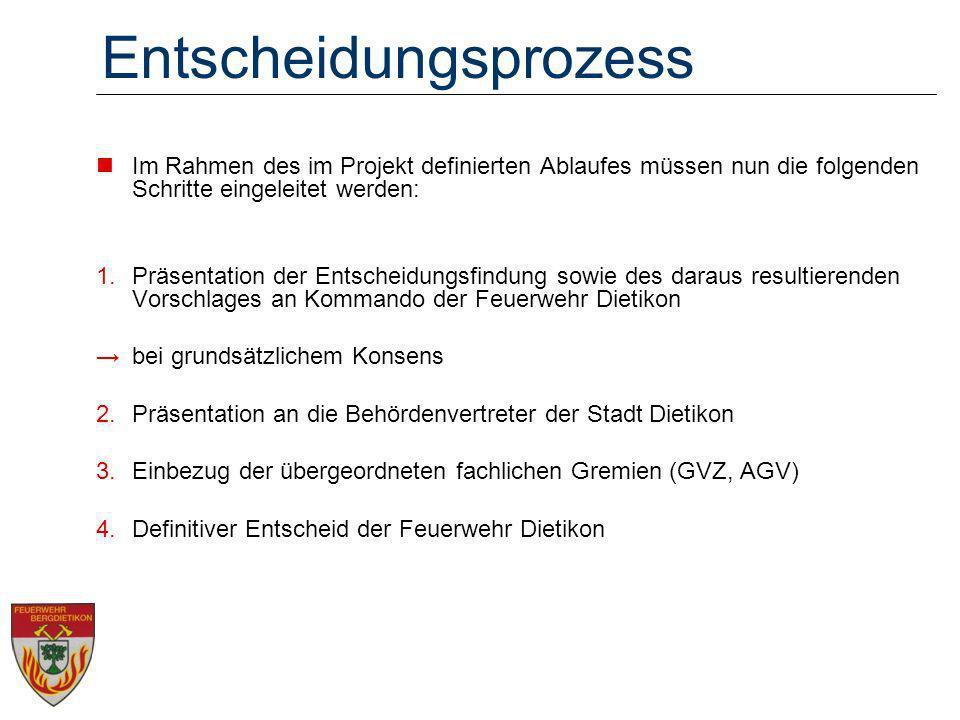 Entscheidungsprozess Im Rahmen des im Projekt definierten Ablaufes müssen nun die folgenden Schritte eingeleitet werden: 1.Präsentation der Entscheidu