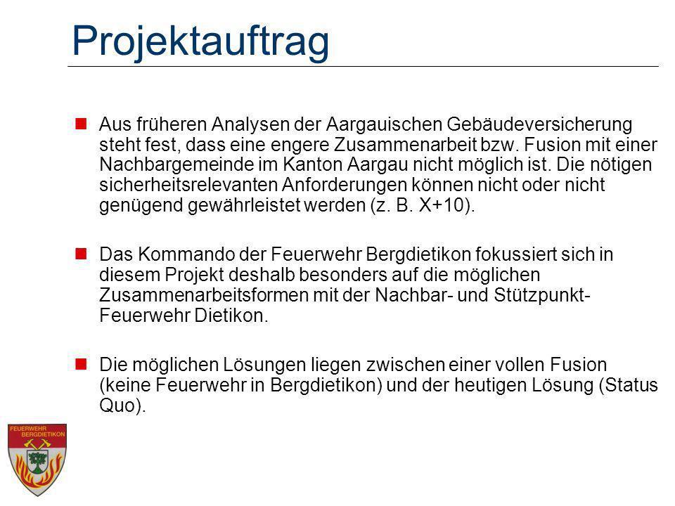 Projektauftrag Aus früheren Analysen der Aargauischen Gebäudeversicherung steht fest, dass eine engere Zusammenarbeit bzw.